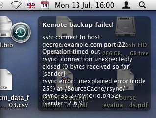 Growling backup error screenshot